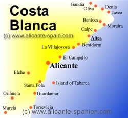 Spanien Festland Karte.Altea Landkarten Und Straßenplan