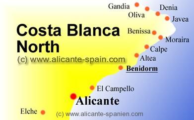 Karte Costa Brava Spanien.Landkarten Benidorm Spanien